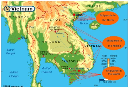 Vietnam map - shipyard